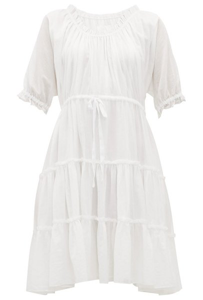 LOUP CHARMANT kassos ruffled cotton-voile dress in white