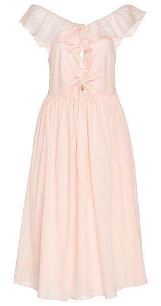 LOUP CHARMANT naxos ruched cotton-voile midi dress in pink