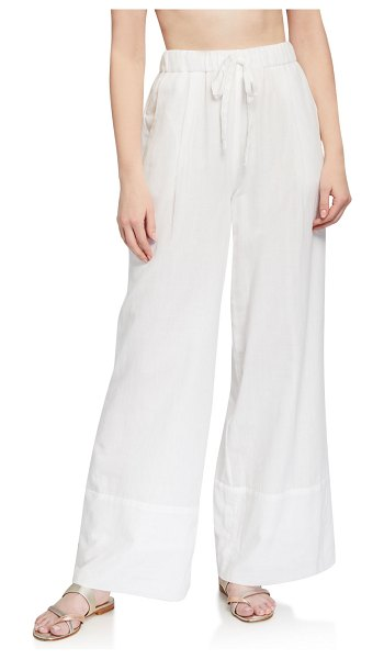 LOUP CHARMANT Olympia Lace Jacquard Palazzo Pants in white