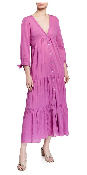 LOUP CHARMANT Tonino Tiered Airy Organic Cotton Dress in orchid