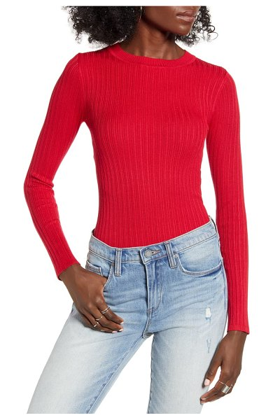 Love By Design skivvy ribbed sweater in true red