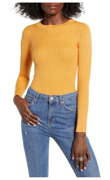 Love By Design skivvy ribbed sweater in gold