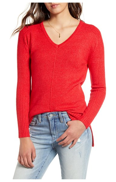 Love By Design v-neck tunic sweater in true red
