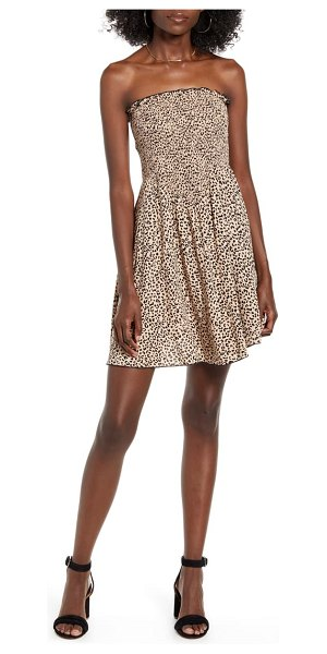 Love, Fire leopard print smocked strapless minidress in brown leopard