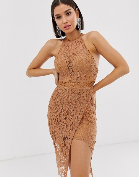 Love Triangle high neck lace dress with wrap skirt in caramel-beige in beige