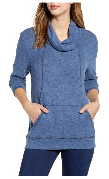 LOVEAPPELLA cross neck seamed pullover in denim