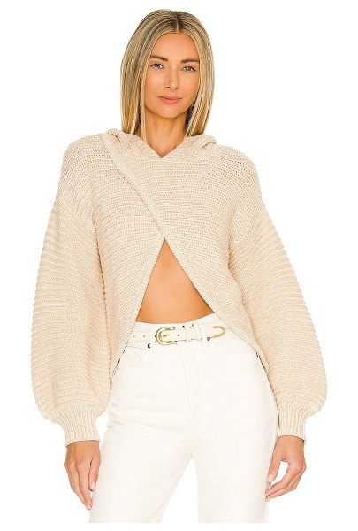 Lovers + Friends andrea crossover hooded sweater in blush plaited rib