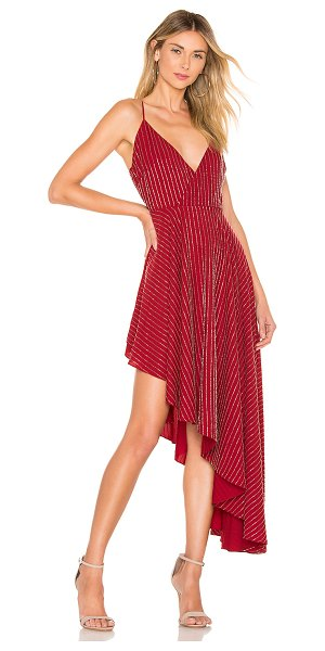 Lovers + Friends Caterina Embellished Dress in red - Rich cabernet crepe waltz with vibrant beaded striping...