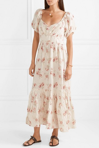 LOVESHACKFANCY angie gathered floral-print linen maxi dress in cream - LoveShackFancy's 'Angie' dress has been reworked in so...