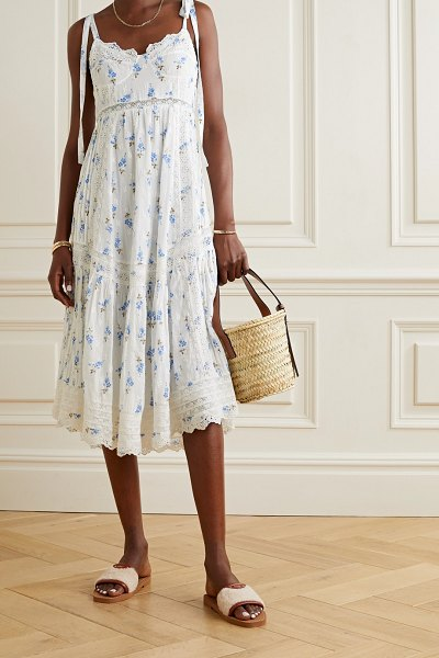 LOVESHACKFANCY antonella crochet-trimmed floral-print broderie anglaise cotton midi dress in white