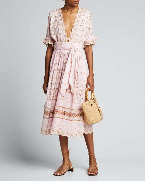 LOVESHACKFANCY Augusta Embroidered Eyelet Plunging Midi Dress in pink pattern