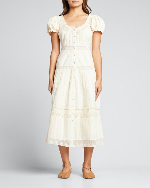 LOVESHACKFANCY Carabella Embroidered Lace Midi Dress in ivory