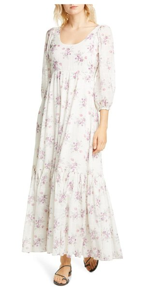 LOVESHACKFANCY colby floral cotton maxi dress in cloud dancer
