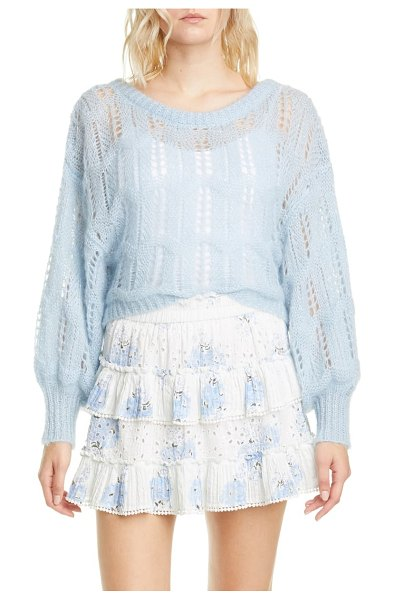LOVESHACKFANCY eugenia wool & mohair blend pointelle sweater in dreamy blue