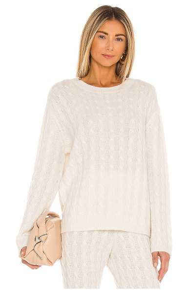 LPA cashmere cable knit crew sweater in ivory