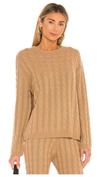 LPA cashmere cable knit crew sweater in camel