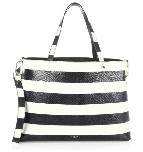 Luana Italy Carlyle Reversible Snake Embossed Leather Tote In Black White Chic Striped