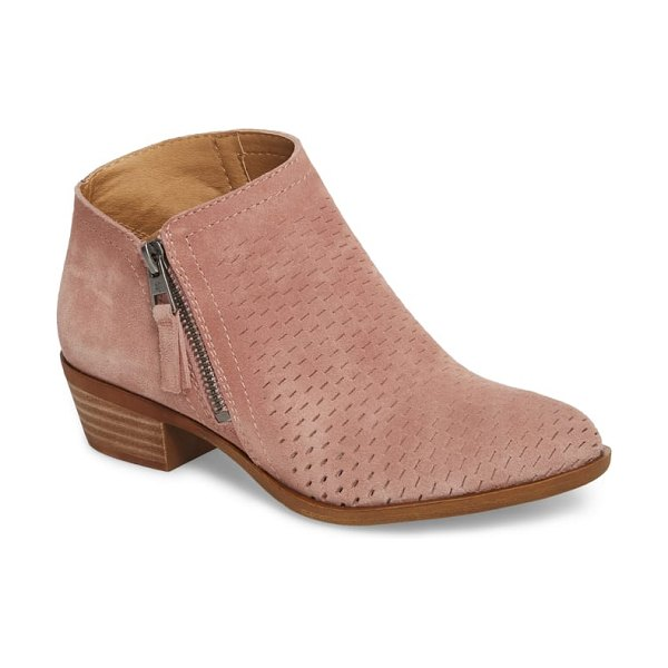 Lucky Brand brielley perforated bootie in pink - An asymmetrical topline adds an intriguing counterpoint...