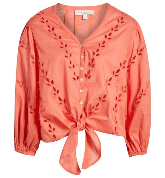 Lucky Brand Eyelet Tie Front Cotton Peasant Blouse In Pink Shopstasy