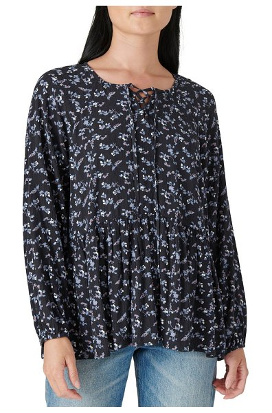 Lucky Brand floral long sleeve tunic top in black multi