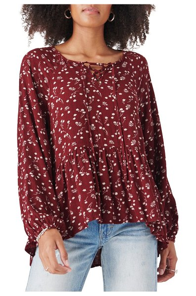 Lucky Brand floral long sleeve tunic top in burgundy multi