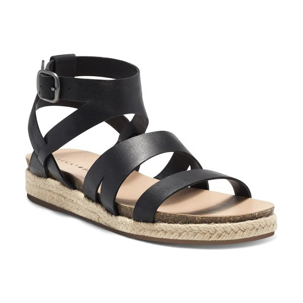 Lucky Brand glaina strappy sandal in black leather
