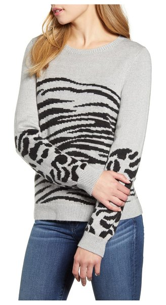 Lucky Brand mixed animal sweater in grey multi