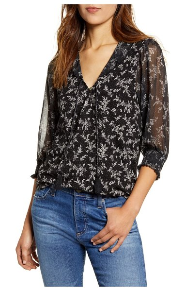 Lucky Brand mixed print sheer sleeve top in black multi