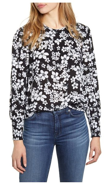 Lucky Brand smocked cuff floral top in black multi