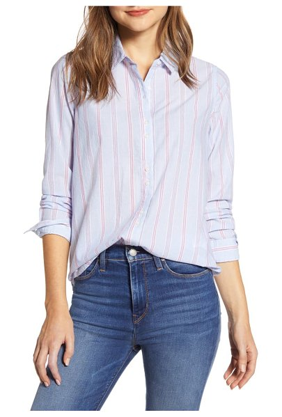 Lucky Brand stripe long sleeve cotton button-up shirt in blue multi