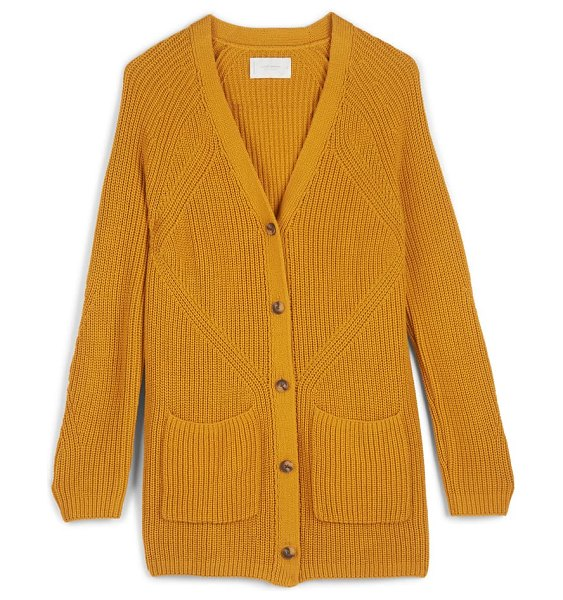 Lucky Brand traveling ribbed long cardigan in sunflower