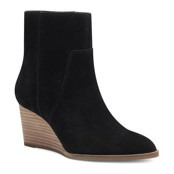 Lucky Brand wafael wedge boot in black suede