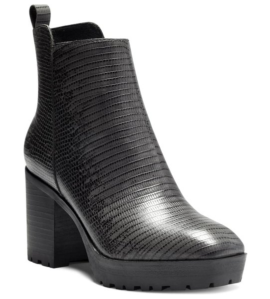 Lucky Brand worrin platform boot in black/ charcoal leather