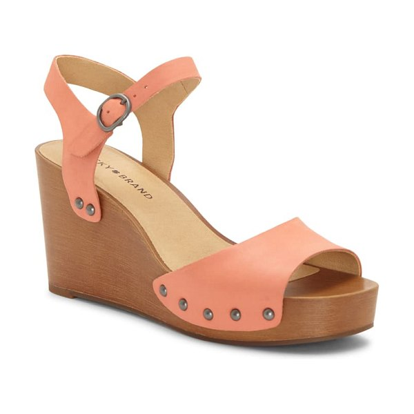 Lucky Brand zashti wedge sandal in coral leather
