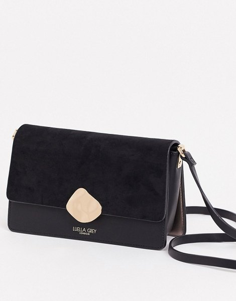 Luella Grey luella gray cross body bag in black with contrast suede front flap and molten gold buckle in black