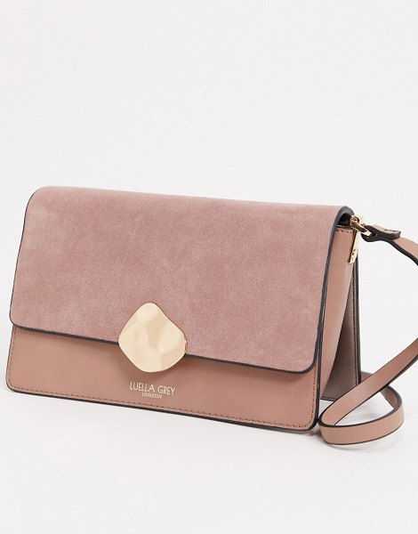 Luella Grey luella gray cross body bag in pink with contrast suede front flap and molten gold buckle in pink