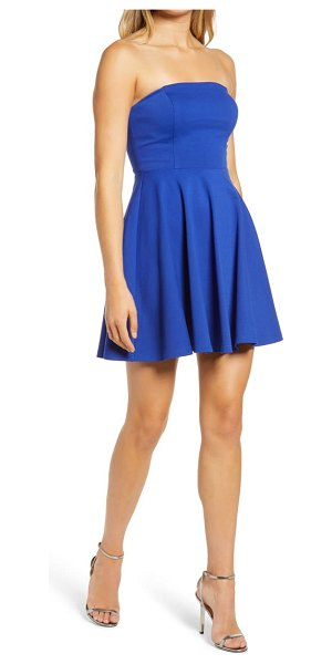 Lulus about a twirl strapless skater dress in blue