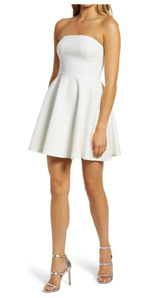 Lulus about a twirl strapless skater dress in white