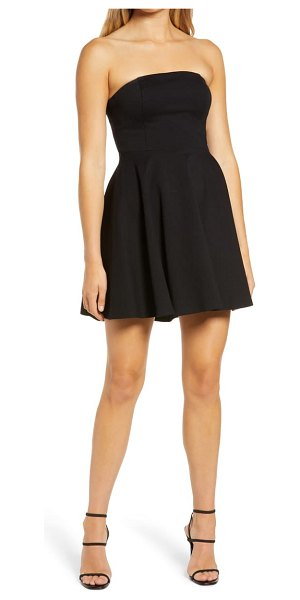 Lulus about a twirl strapless skater dress in black