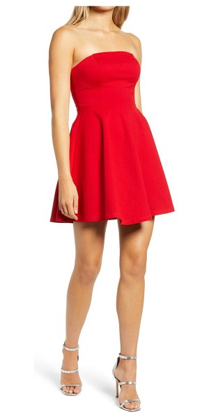 Lulus about a twirl strapless skater dress in red