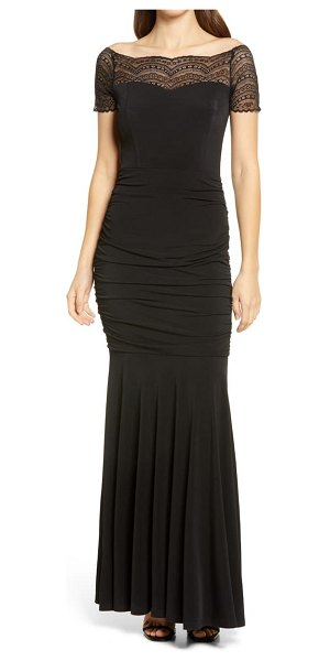 Lulus any given moment lace yoke ruched mermaid gown in black