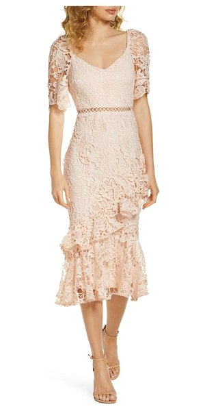 Lulus briarwood ruffle lace cocktail dress in white