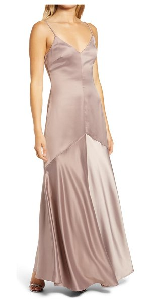 Lulus buena satin gown in dusty lavender