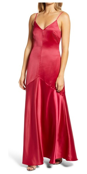 Lulus buena satin gown in ruby red