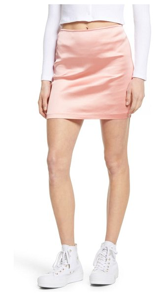 Lulus checking in satin miniskirt in pink
