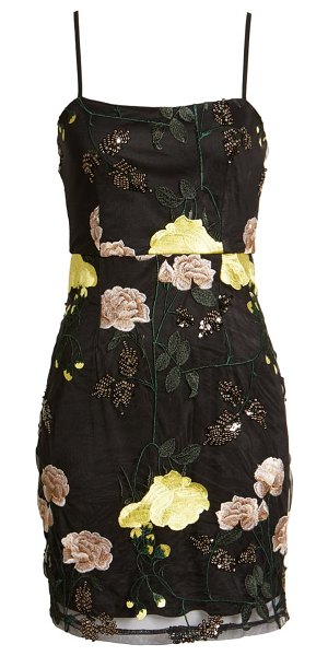 Lulus embroidered sequin dress in black floral