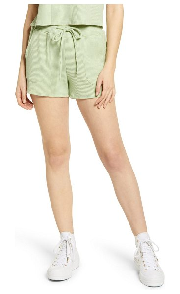 Lulus living leisurely ribbed shorts in sage green