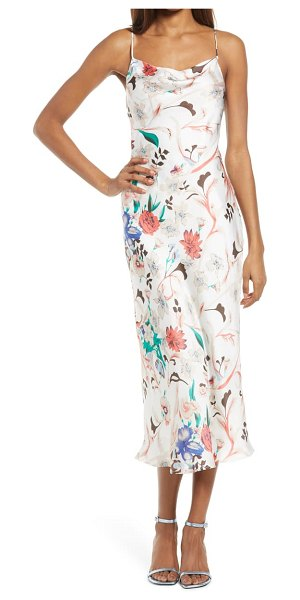 Lulus must be fate floral satin midi dress in cream multi floral print