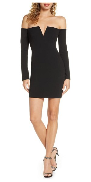 Lulus off the shoulder long sleeve body-con minidress in black