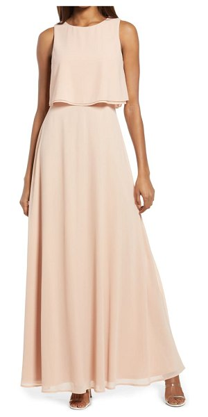 Lulus utterly enchanting popover chiffon gown in blush